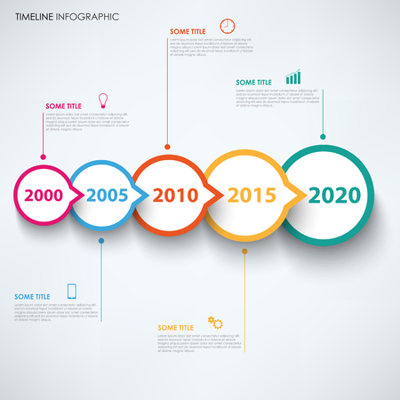 Time line info graphic with round design pointers vector eps 10