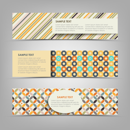 Collection retro banners with different color patterns vector eps 10 Illustration