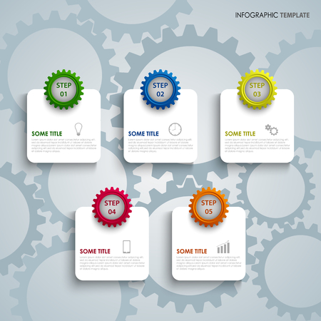 Info graphic with colorful gears and labels template vector eps 10