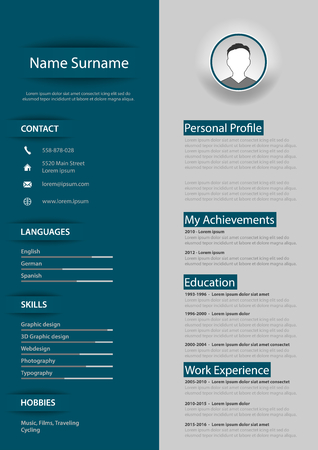 Professional blue gray resume cv with design elements vector eps 10
