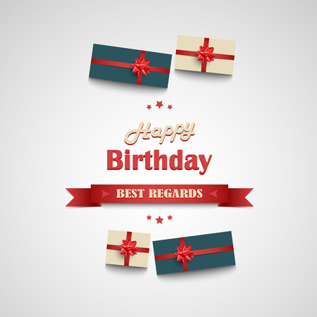 Birthday poster with ribbon and gifts in the background vector.