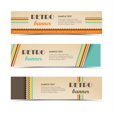 Collection retro horizontal banners with colored stripes template vector.