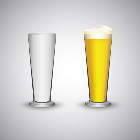 Glass cone beer empty and full template vector