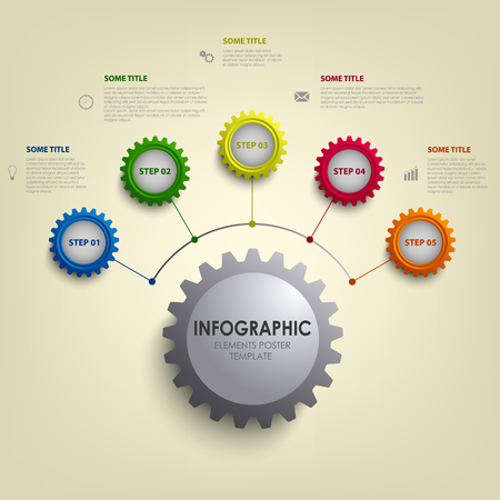 Info graphic with abstract colored desig gears template vector eps 10