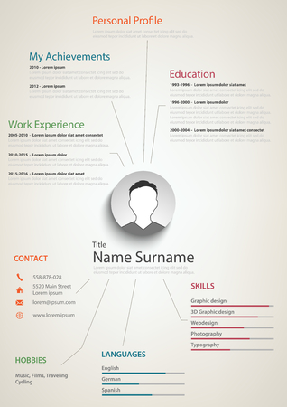 Professional retro resume cv with background links vector eps 10