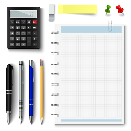 Collection of office supplies on a white background vector eps 10