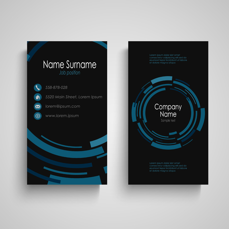 Dark business card with abstract technical blue round vector eps 10 Illustration