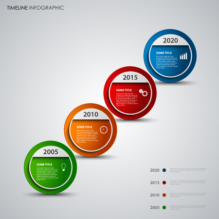Time line info graphic with round design abstract pointers vector eps 10