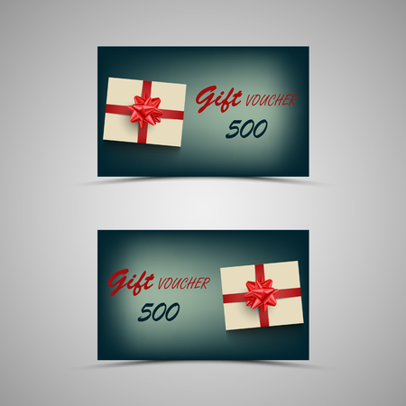 Gift voucher with present on blue background vector eps 10