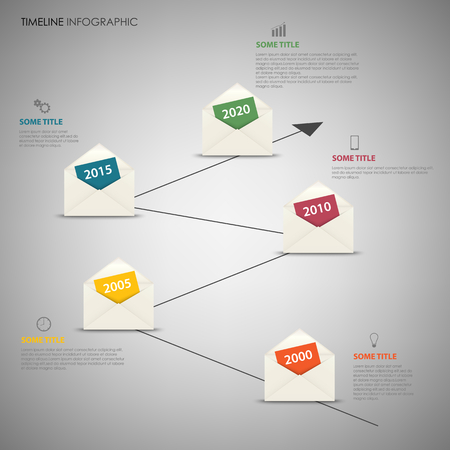 Time line info graphic with design letter envelopes template