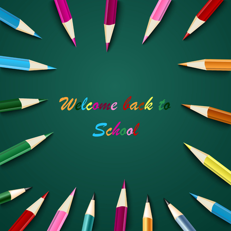Back to school with colored pencils on green background template vector eps 10