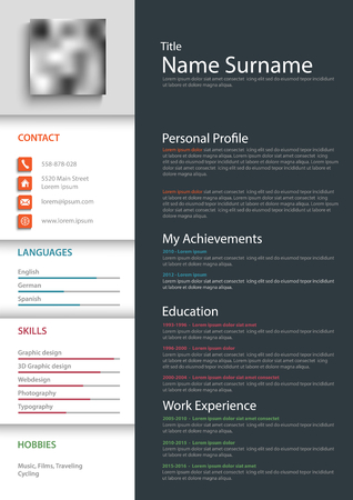 Professional personal resume cv template vector eps 10 Imagens - 81494275