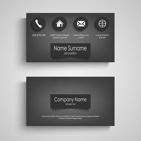 Business card dark with design labels template vector eps 10