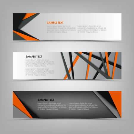 Collection banners with abstract triangles and stripes template vector eps 10 Ilustração