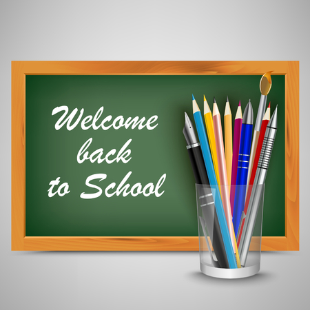 Back to school with green board and supplies template vector eps 10
