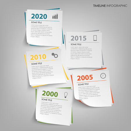 Time line info graphic with abstract note paper template vector eps 10 Imagens - 82565087
