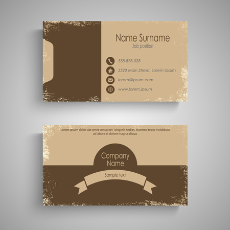 Retro business card in brown design template vector eps 10