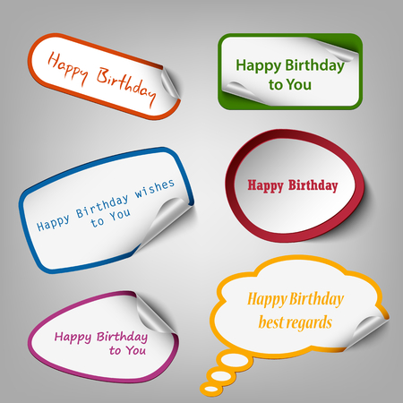 Collection of colorful birthday stickers template vector eps 10. 向量圖像