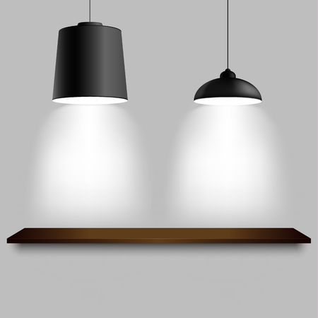 Black ceiling two different lamps with shelf template vector.