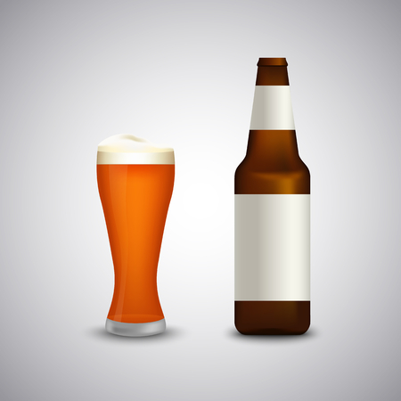 Full glass of beer with bottle template 10
