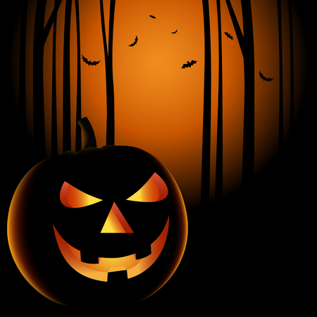 Halloween night with grinning pumpkin background vector eps 10 Ilustrace