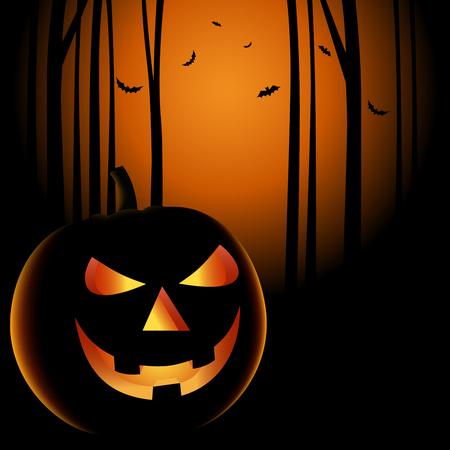 Halloween night with grinning pumpkin background vector eps 10 Ilustração