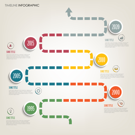 Time line info graphic with abstract color direction indicator vector eps 10