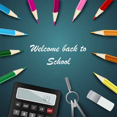 Back to school with colored pencils and supplies vector illustration Ilustração