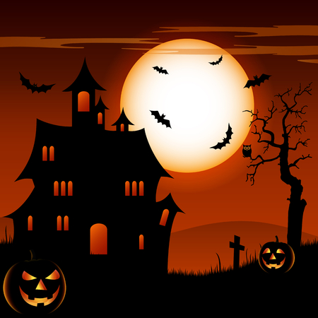 Halloween night with grinning pumpkins and scary castle vector illustration