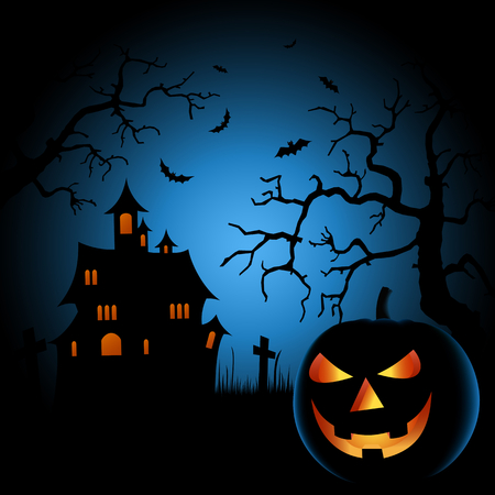 ghostly: Halloween scary night poster with castle and grinning pumpkin vector eps 10