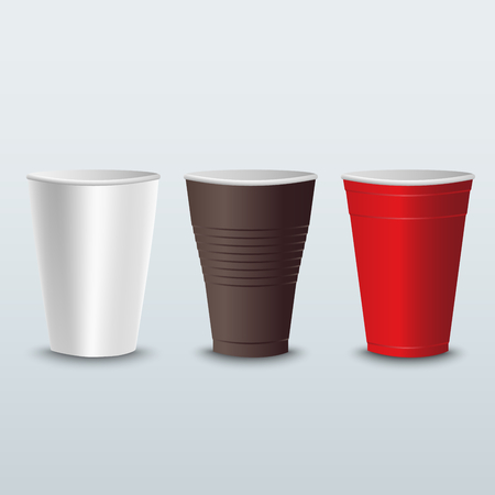 Plastic colored coffee tea cups template vector eps 10 Imagens - 86204965