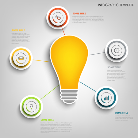Info graphic with design pointers and bulb template vector eps 10 Imagens - 86814806