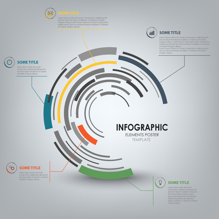 Info graphic with abstract technical design round template vector eps 10 Ilustração
