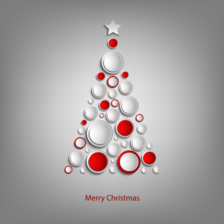 Christmas card with abstract tree white and red balls template vector eps 10 Illustration