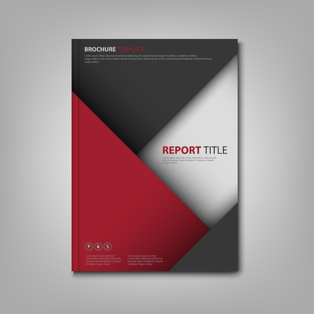Brochures book or flyer with red gray triangles template vector eps 10