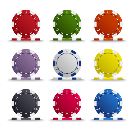 Collection of colored poker chips template vector eps 10