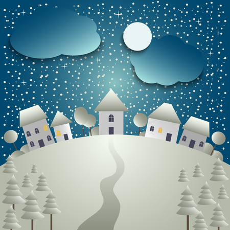 Christmas card with snowy village.