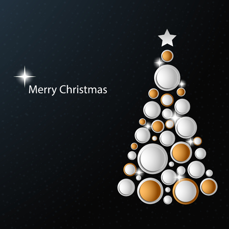 Christmas card with abstract golden white tree template vector Illustration