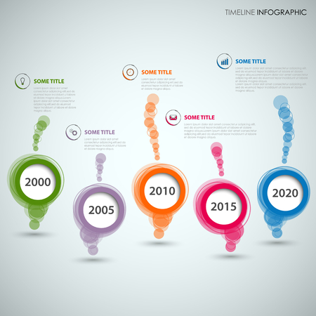 Time line info graphic with colored abstract round speech bubbles vector