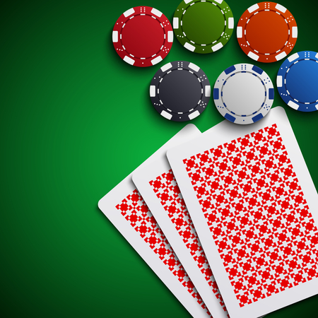 Poker chips with the cards on the table illustration.