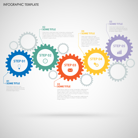 Abstract Info graphic with design flat gear wheels template vector