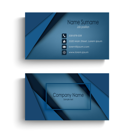 Business card with design abstract blue triangles template vector