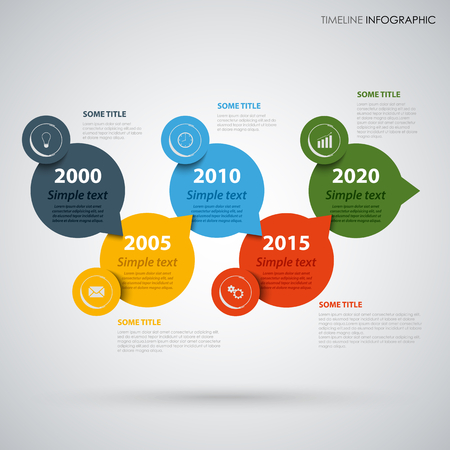 Time line info graphic with colored round design pointers vector illustration