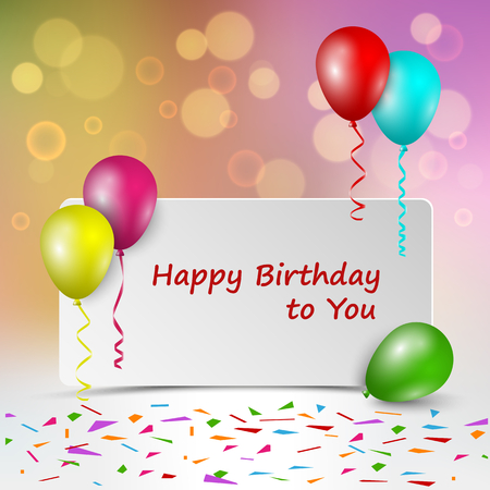 Birthday card with sign and colorful balloons vector eps 10 Illustration