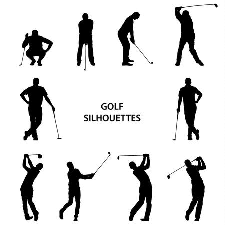 Golf różne sylwetki na białym tło wektorze eps 10