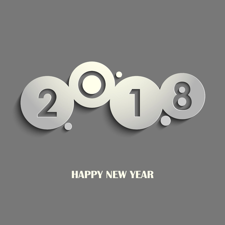 New Year card with cut out design gray circles vector eps 10 Illustration