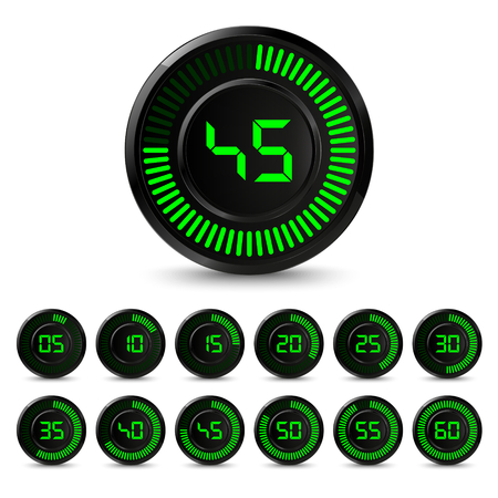 Digital black green timer with five minutes interval vector eps 10.