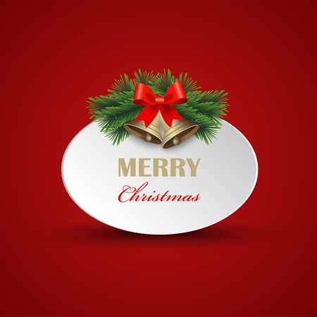 Christmas card with signs and bells on red background vector eps 10.