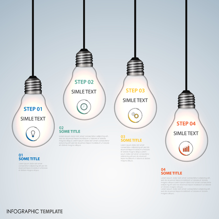 Info graphic with hanging design bulbs template vector eps 10. Illustration