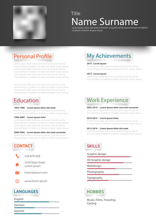 Professional personal resume cv with design stickers template.
